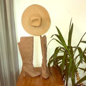 Over the Knee Tan Suede Boots